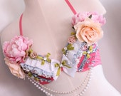 Asleep in the garden custom floral bra top rave costume 34B-32C dolls for days one of a kind bra