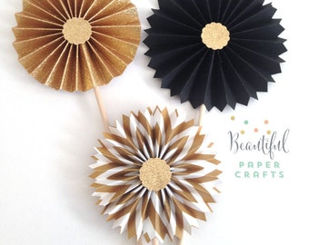 New Years Centerpieces | Black and Gold Rosettes Wands | Gold Glitter Centerpieces | Gold Wedding | Bridal Shower Centerpieces |