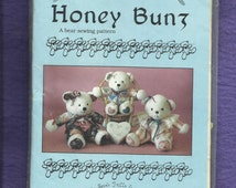 Vintage 1989 Sally Jean Frills Honey Bunz #3 Cottage Chic Sweet Little Stuffed Bears Size 13..16  inches tall