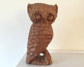 Hand carved Wooden Owl, Mid Century Modern Home Decor, OWL, Put A Bird On IT, Bohemian Chic, Bird Decor