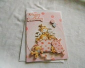 Birthday Child 3d paper tole pink with sparkle