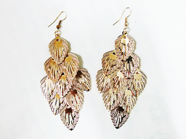 Rose Gold Leaves Chandelier Earrings Boho Chandelier by
