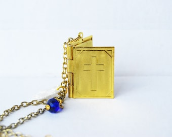 Keep the faith - gold or silver Bible book locket necklace