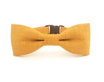 Mustard Crosshatch Cat Bow Tie Collar