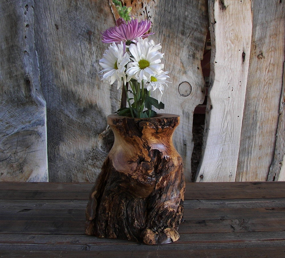 rustic log vase aspen wood home d cor accent by
