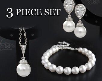 Wedding Pearl Jewelry 3 Piece Set Earrings Necklace Bracelet Wedding Jewelry Swarovski Cubic Zirconia Bridesmaid Gift White Cream KPL023