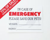 SET OF 3 - Emergency Pet Sticker - Save Our Pets - Door Sticker Or Window Sticker For Your Home - 15% of sales donated to charity!