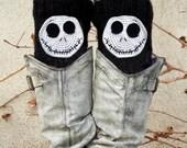 Jack Skellington Boot Cuffs, Skeleton Accessory, Knit Socks, Legwarmers Black White, Boot Socks, Knit boot cuffs, Croc
