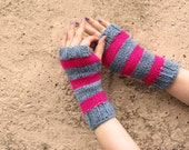 Mitten for two, Hand Knitted Fingerless Gloves Striped Gray Pink - Gloves & Mittens, Gift Ideas, For Her, Winter Accessories, Striped Knits