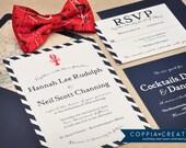 Wedding Invitation - Lobster Wedding Invitation - Nautical Wedding Invitation - Navy Blue Wedding - Nautical Invitation