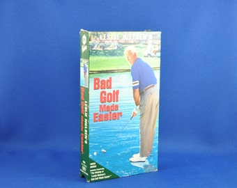 Vintage Leslie Nielsen's Bad Golf Made Easier VHS Tape - 1993 - Golf Ball - Golf Club - Tee - Backstroke - Green - Trap - Sand - Gold Shoes