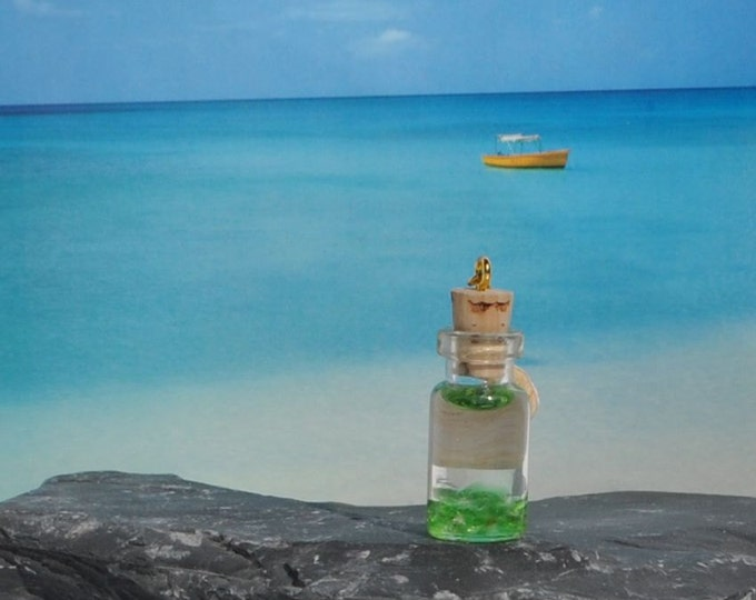 May Birthstone Emerald Light Green Sea Glass in Miniature Bottle