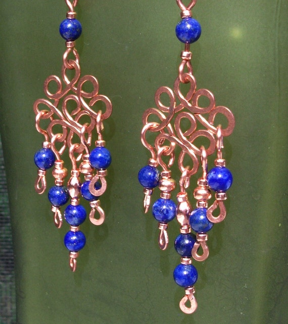 Blue and copper filigree chandelier earrings with lapis lazuli