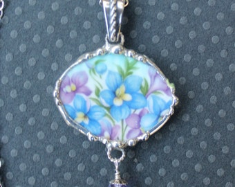 Necklace, Broken China Jewelry, Broken China Necklace, Oval Pendant, Violet and Blue Floral China, Sterling Silver
