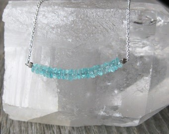 faceted aqua blue APATITE sterling silver necklace