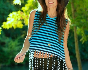 Teal Ombre Fringe Muscle Tank