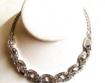 Pennino Estate Vintage Signed  Diamond Rhinestone & Silver Necklace Choker Hollywood Glam Chic