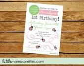 Girl First Birthday Invite, Ladybug Birthday Invitation