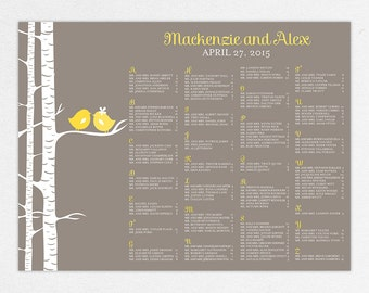 Wedding Seating Chart (For the Birds) - Digital File, DIY, Printable, pdf, Love Birds, Birch Trees, Nature, Spring, Summer, Yellow, Gray