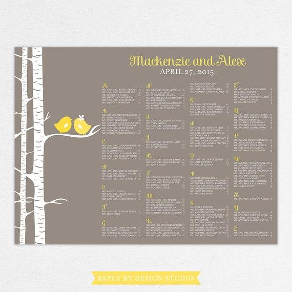 Wedding Seating Chart (For the Birds) - Digital File, DIY, Printable, pdf, Love Birds, Birch Trees, Nature, Spring, Summer, Yellow, Gray