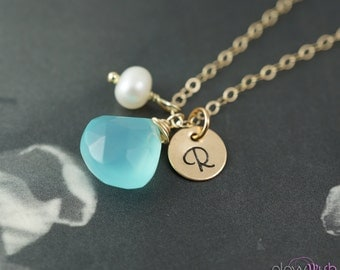 Gold necklace, Blue chalcedony, Beach wedding, Bridesmaids gifts, Initial necklace, Aqua blue