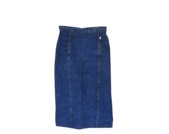 80s Denim Skirt Jean Skirt Guess Jeans Skirt Pencil Skirt Knee Length Skirt High Waist Skirt 80s Clothing 80s Clothes Women Skirt Long Skirt
