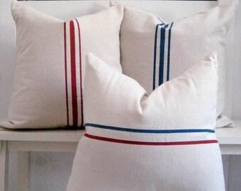 Grainsack Pillows / Modern Farmhouse decor / French Country Decor / Nautical Pillows / Lakehouse Pillow / Rustic Pillow