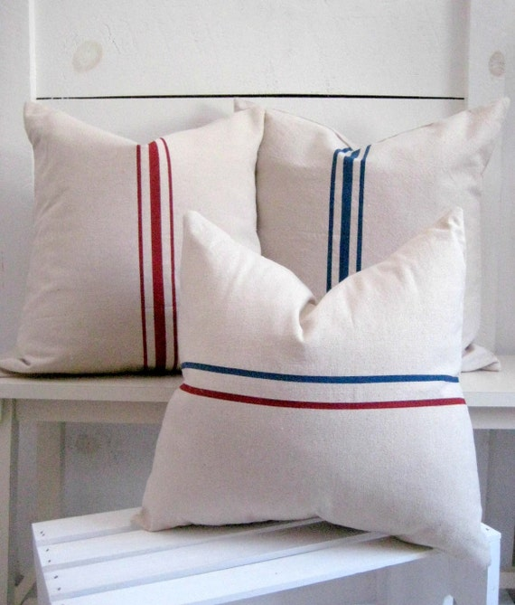 Modern Country Pillows : Items similar to Grainsack Pillows / Modern Farmhouse decor / French Country Decor / Nautical ...