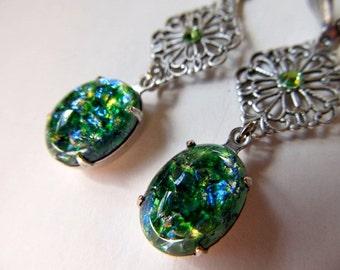 Opal Earrings Fire Opal Earrings Sterling Silver Earrings Art Nouveau Earrings Art Deco Earrings Filigree Earrings Green Earrings- Mystery 2