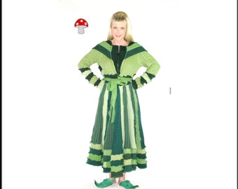 "Elf Coat DEPOSIT Special Order ""Green Goddess"" Size Medium Evergreen Spring Green Recycled Sweater Duster Length Coat Upcycled Pixie Hoodie"