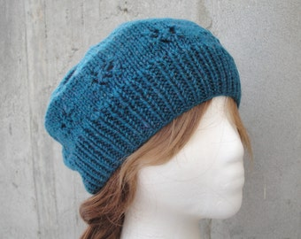 Green Beanie Hat for Women & Teen Girls, Hand Knit Wool Blend, Sparkly, Slouch