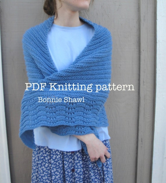 Knitting Patterns For Capes And Shawls : Bonnie Shawl PDF Knitting Pattern Easy Knit Wrap Cape by Girlpower