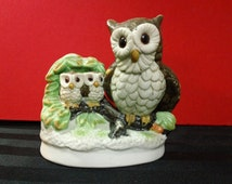 Vintage UCGC Porcelain Mama Owl with Two Baby Owlets figurine ~ Taiwan