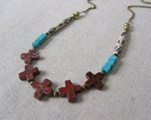 Bohemian Statement Necklace, Red Jasper Necklace, Southwestern Cross Necklace, Tribal Necklace