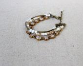 Layered Bracelet, Black Charm Bracelet, Czech Glass Bracelet, Choose Your Preferred Color
