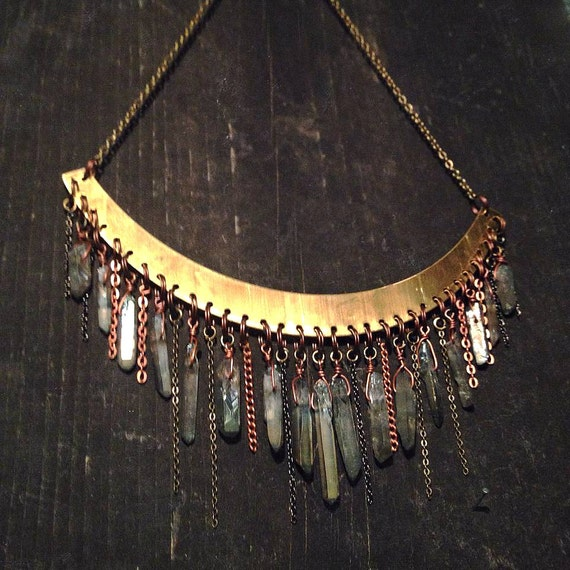 Handcrafted Quartz Crystal Chandelier Necklace, Large Raw Brass Collar, total of 17 crystals + assorted draped chain.