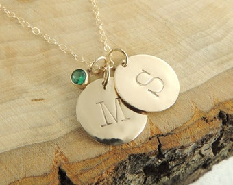Solid 14k Gold Birthstone Necklace,  Personalized Necklace, Initial Necklace, Alaphbet, Letter, Personalized Initial, Birthstone Necklace
