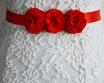 Red, Bridal Sash Belt, Chiffon Flowers for Gown, Bridesmaid, Flower Girl, Wedding, Flower Belt, Tie Back Hair Band, Floral Belt, Hair Flower