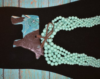 Chocolate and Turquoise Show Necklace with Howlite Turquoise Cross and FLower!!!!