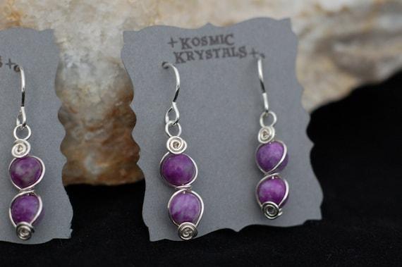 Purple Sugilite Gemstone Earrings in Sterling Silver / Wire Wrapped Stone Earrings / Artisan Jewelry