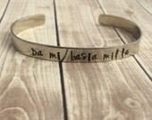 Outlander Da Mi Basia Mille Hand Stamped Cuff Bracelet