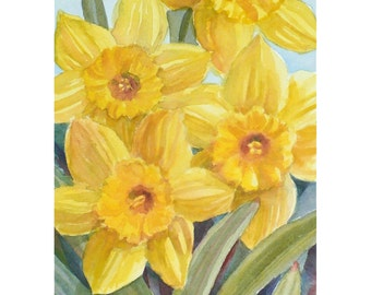 Daffodil Painting, Yellow Flowers Original Watercolor Spring Decor, 8x10 Matted Art, Floral Artwork by Janet Zeh