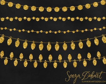 80% OFF Sale Clipart Gold Glitter String Lights Commercial Use