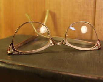 Art Nouveau Reading Glasses Gold Filled Eye Glasses Womens Accessories Vintage 1950s 50s (A)