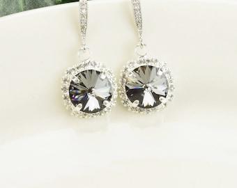 Charcoal Gray Earrings - Swarovski Earrings - Crystal Drop Earrings Silver - Bridesmaid Earrings - Bridal Jewelry - Bridesmaid Jewelry