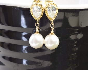 White Pearl Earrings - Gold Cubic Zirconia Earrings - White Swarovski Pearl Bridesmaid Earrings - Bridal Jewelry - Pearl Bridesmaid Jewelry
