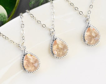 Champagne Bridesmaid Necklaces Set of 4 - 8% OFF Silver Blush Peach Glass Pendant Necklace - Bridesmaid Gift - Wedding Jewelry