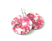 Cherry Blossom Earrings, Pink, Garnet, Red, Japanese Paper, Washi, Chiyogami, Large Dangles, Made to order, Gift under 20, Birch wood, Resin