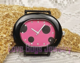Pink with Black Polka Dots Watch Face - Interchangeable Watch Face, Ribbon Watch Face, Watch Face for Beading, Watch Face Jewelry
