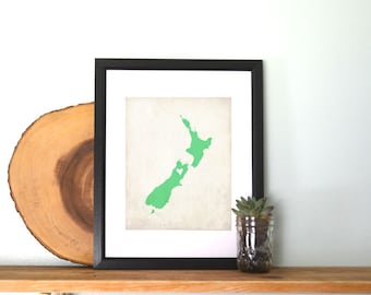 New Zealand Personalized Country Map Art Print 8x10
